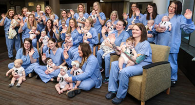 Birthing Center nurses with their babies