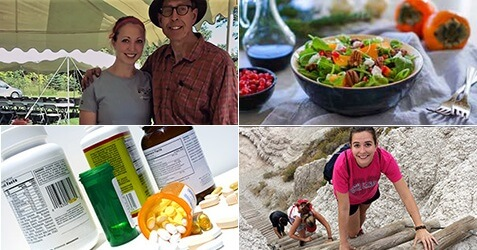 combination of pictures, person climbing, medications, salad