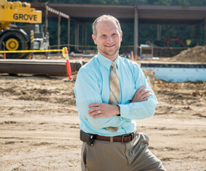 New Centracare Health - Long Prairie Physician  Harrison H. Hanson, pictured outside the new  Long Prairie medical campus currently under construction.