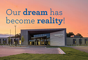 "Image of long prairie center with text ""our dream has become reality"""