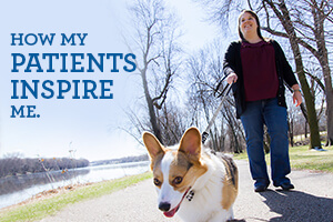 Author walking dog; text: how my patients inspire me
