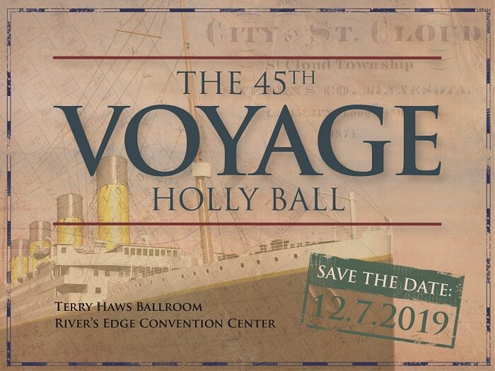 The 45th Voyage Holly Ball save the date graphic - December 7, 2019