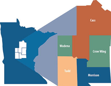 map of regional of minnesota served by new hospital: Wadena, Cass, Todd, Crow Wing, Morrison